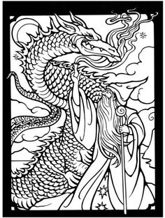 Dragon Wizard Fantasy Myth Mythical Mystical Legend Elf Elves Sword Sorcery Magic Witch Wizard Coloring pages colouring adult detailed advanced printable Kleuren voor volwassenen coloriage pour adulte anti-stress kleurplaat voor volwassenen http://s39.photobucket.com/user/tharens/slideshow/coloring pages/?albumview=slideshow