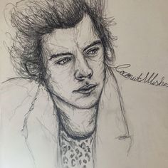 Messy Ink drawing of Harry Styles from One Direction