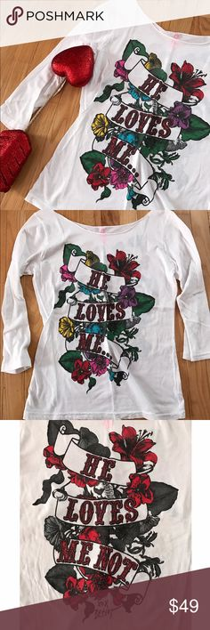💕Betsey Johnson He Loves Me.... ...He Loves Me Not. White 3/4 sleeve tunic with multicolored floral design. 100% cotton! NWOT! Betsey Johnson Tops Tees - Long Sleeve