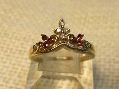 Elegant Tiara Ring with Diamonds & Rubies in 14K Yellow Gold