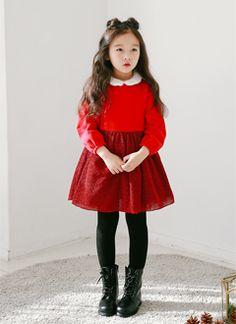 ファー襟ツインクルワンピース  #kids dailylook #アイレブジェイ #キッズファッション #親バカ #子供服 #子供ファッション #韓国子供服  http://www.ilovej.co.jp/  http://www.ilovej.co.jp/smartphone/