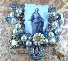 Vintage and New Catholic Virgin Mary Our Lady of Miraculous Medal Charm Bracelet http://stores.ebay.com/letyscreations #HandmadeHandcrafted #PendantCatholicMedalsBeads