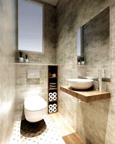 Small Downstairs Toilet, Small Toilet Room, Guest Toilet, Downstairs Bathroom, Bathroom Layout, Cloakroom Toilet Small, Gold Bathroom, Bathroom Wall, Bathroom Storage