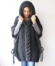 20% WINTER SALE Dark Gray Plus Size Cable Knit Poncho with by afra