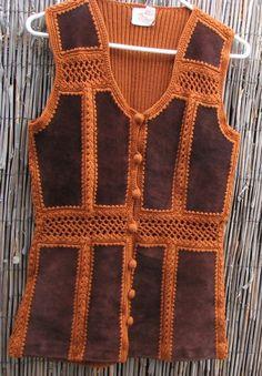 Vintage Vest 70s Suede Patchwo