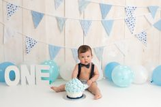 Oh So Savvy Photography Simple 1st Birthday Party Boy, 1st Birthday Boy Themes, Blue Birthday Cakes, Mickey First Birthday, 1st Birthday Photoshoot, 1st Birthday Cake Smash, Baby Boy First Birthday, Baby Cake Smash, Baby Boy Cakes