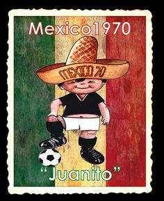 En la Copa Mundial de Fútbol México 1970 apareció Juanito, un niño quien luce en su rostro una amplia sonrisa, porta en su cabeza un sombrero de ala muy ancha, tradicional en este país latinoamericano, y viste el uniforme de la selección mexicana. En la parte frontal del ala del sombrero se ve escrito: México 70. Football Soccer, Football Players, World Cup Logo, Cartoons, Baseball Cards, History, Poster, Cute Mugs, Dating