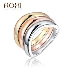 ROXI Brand Ring For Women Gold Plated Quality 3 Round Ring Jewelry Crystals From Austria For Women Body Jewelry Weeding Ring