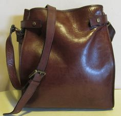 Your place to buy and sell all things handmade Leather Handbags, Leather Bag, Brown Leather, Timberland Uk, Vintage Italian, Vintage Bags, Vintage Leather, Leather Shoulder Bag, Metal Working