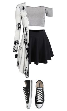 """Untitled #54"" by tati-matewa ❤ liked on Polyvore featuring WithChic, Boohoo and Converse"
