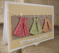 Feb 19 Summer Origami Dresses by laurap - Cards and Paper Crafts at Splitcoaststampers Cute Cards, Diy Cards, Origami Cards, Origami Dress, Dress Card, Fancy Fold Cards, Card Making Inspiration, Card Sketches, Card Tags