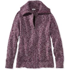 L.L.Bean Cotton Ragg Sweater, Marled Zip-Front Cardigan ($60) ❤ liked on Polyvore featuring tops, cardigans, zip front cardigan, l.l.bean cardigan, ribbed top, collar top and purple top