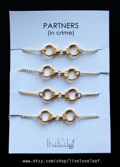 Set of 4 Gold Handcuffs bracelets for four best by LiveLoveLeaf