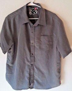 Tony-Hawk-Shirt-Gray-Button-Short-Sleeve-Size-Medium-Wrinkle-Resistant