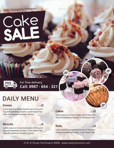 Food Graphic Design, Food Poster Design, Menu Design, Food Design, Flyer Design, Design Posters, Sweet Restaurant, Restaurant Poster, Cake Logo Design