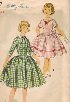 1950s Simplicity 1397 Vintage Sewing Pattern Girl's Party Dress, Full Skirt Dress, Detachable Collar, Detachable Cuffs Size 8