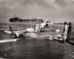 A Spitfire of the 307th Fighter Squadron after an emergency landing on the beaches of Paestum, Italy, c.1943