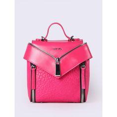 Diesel LE-KIIMY II Backpacks ($310) ❤ liked on Polyvore featuring bags, backpacks, fuchsia, women, pink mini backpack, leather backpacks, mini shoulder bag, mini backpack and diesel backpack