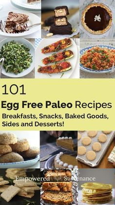 101 egg free paleo recipes for breakfasts, sides and desserts #food #paleo #glutenfree #eggfree