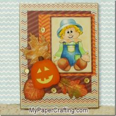 ** My Paper Crafting.com **: Scarecrow Boy Card With DCWV Fall-Halloween Stack