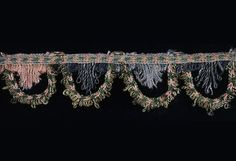 """Italy  """"Renaissance"""" Fringe, 16th century  Silk and gold and silver gilt strips wound around silk fiber cores, countered warp twining with extended weft loop fringe 76 x 2.8 cm (29 7/8 x 1 1/8 in.) 