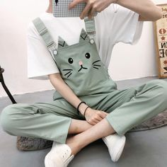 Material: made of cotton and polyester Size: S/M/L/XL Option:Black/Pink/Green/White/Beige Size reference: Size Waist Hip Length Leg Cir S M L XL Cute Casual Outfits, Stylish Outfits, Girl Outfits, Fashion Outfits, Overalls Fashion, Ropa Color Pastel, Mode Kawaii, Kawaii Cat, Korean Girl Fashion