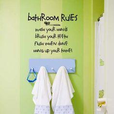 BATHROOM RULES  Kids Bathroom  Vinyl Wall Lettering by wallstory