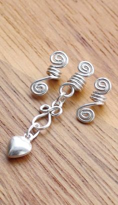 Loc Jewelry Set, Sterling Silver wire swirls and Sterling Silver 3D Puffed Heart on Etsy, $25.70