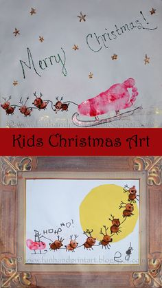 Kids thumbprint & footprint sleigh crafts #christmas