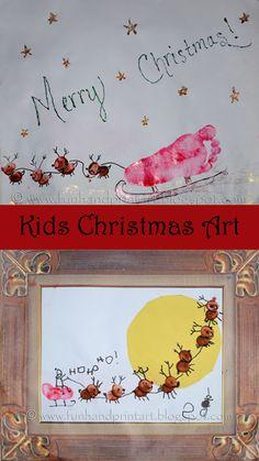 Kids thumbprint & footprint sleigh crafts #christmas