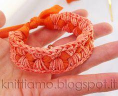 Tutorial per braccialetto di fettuccia al uncinetto para la, di fettuccia, tutori para, braccial di, la cinta, crochetpunto de, de cruz, brazalet de