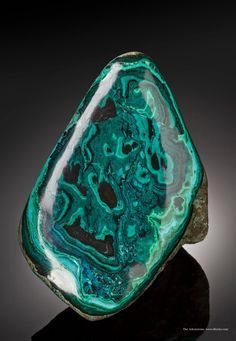 Malachite with Chrysocolla (polished) from Morenci Mine, Morenci, Shannon Mts, Greenlee Co., Arizona, USA [http://img.irocks.com/2014-update...
