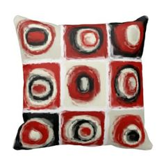 Red Decorative Throw Pillows | Pretty Throw Pillows | Red, beige and black circular abstract pattern decorative throw pillow Red Throw Pillows, Decorative Throw Pillows, Abstract Pattern, Bedding, Beige, Pretty, Black, Throw Pillows, Mandalas