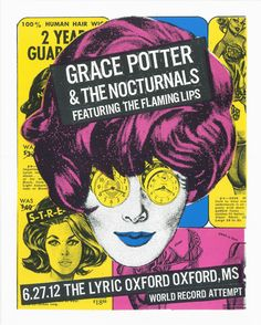 Concert poster for Grace Potter and the Nocturnals and the Flaming Lips