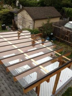 Pergolas and patio covers // Notice how the pergola roof is above the home roo ... I wonder how that would work with hail