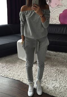 Grey Plain Pockets Drawstring Waist Casual Long Jumpsuit