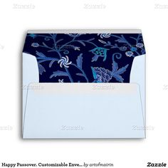 Happy Passover! Shalom at Pesach. Elegant Festive Design Personalized Passover Envelopes. Matching cards, postage stamps and other products available in the Jewish Holidays / Passover Category of the artofmairin store at zazzle.com