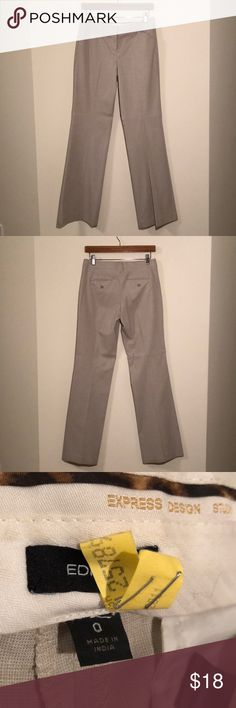 Express Editor pant in beige in size 0 Express Editor pant. Beige / khaki color. Polyester, viscose, spandex. Size 0. No stains or tears. Beautiful condition!! Express Pants