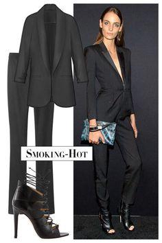 The new LBD is, in fact, a suit, especially when it's a le smoking. Look for tuxedo jackets and slightly flared pants. Lisette L Montréal jacket, $220, lisettel.com; Ralph Lauren Black Label pants, $765, Saks Fifth Avenue; 877-551-7257; Charline De Luca sandal, $795, shopBAZAAR.com .