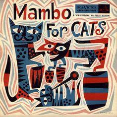 "(jazz album cover, graphic design, illustration) ""Mambo for Cats"" by Jim Flora Cover Art, Lp Cover, Vinyl Cover, Sketch Manga, Pochette Album, Album Cover Design, Photocollage, Design Graphique, Retro Art"