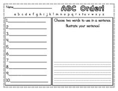 2 versions of an ABC order worksheet to use during literacy centers. I included one version with a spot for 5 words and another to be used with a list of 10 words. Enjoy!