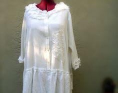 Art to Wear White Cotton Gauze Lagenlook Layering Tunic dress