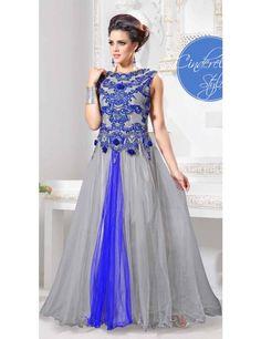 Ethnic Gray Color Zardosi Work Wedding Gown