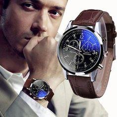 Relógio de quartzo analógico luxo, de couro falso, azul de vidro.