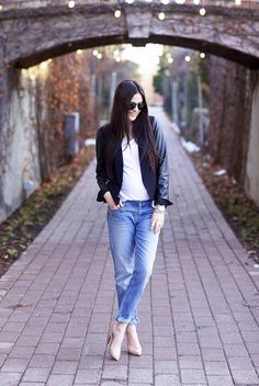 This Weeks 10 Fashion Bloggers In Denim   The Jeans Blog - Pink Peonies in LOFT Boyfriend Jeans