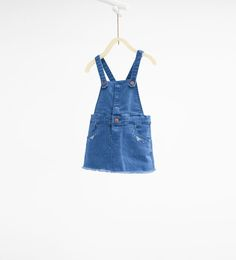 Image 1 of Denim pinafore dress with embroidered pocket from Zara