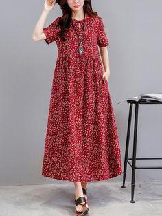Women loose fit dress pocket ethnic flower tunic s Simple Dresses, Cute Dresses, Casual Dresses, Summer Dresses, Loose Dresses, Modest Fashion, Fashion Dresses, Look Fashion, Fall Fashion
