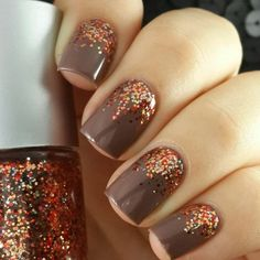 Brown nails with red, orange and gold glitter - the perfect color scheme for Thanksgiving. #DIY #PANDORAloves