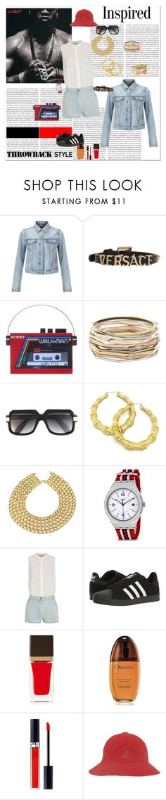"""""""BACK IN THE DAY: THE 80's REMIX-THE ROUND THE WAY GIRL, BACK WHEN BARS MADE STARS....AND FAKERS GAINED SCARS #REALtalk"""" by g-vah-styles ❤ liked on Polyvore featuring Levi's, Versace, Sarah's Bag, Kendra Scott, Cazal, Chanel, Sea, New York, adidas, Tom Ford and Calvin Klein"""
