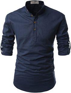 2b138525d NEARKIN (NKNKN350) Beloved Men Henley Neck Long Sleeve Daily Look Linen  Shirts NAVY US